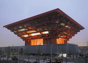 上海世博园区中国馆试灯