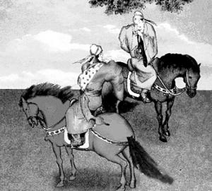 手绘现代骑马美女